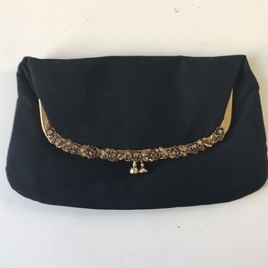 VTG black Gold clutch evening bag purse fabric S